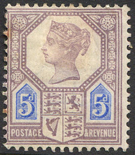 SG207a 5d Dull Purple & Blue (Die II) Mounted Mint