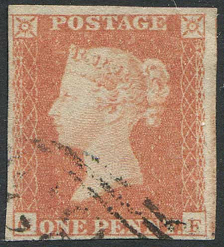 1841 1d Red (GF) 4 Margin Fine Used Clear Profile