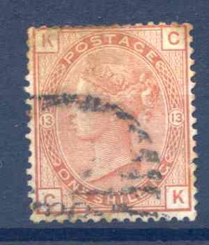 SG163 1/- Orange Brown Plate 13 Fine Used