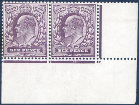 SG246 6d Slate Purple Corner Marginal Pair Lightly Mounted on One Stamp