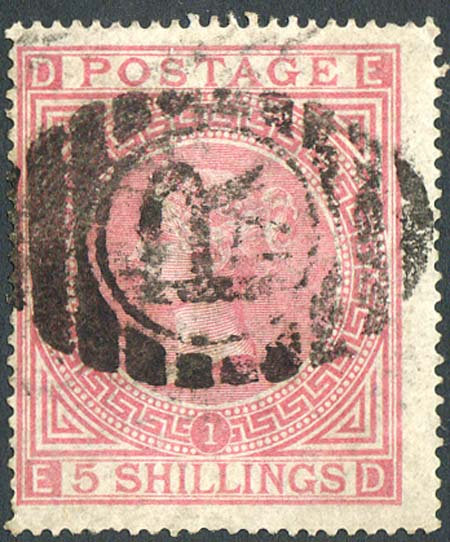 SG127 Plate 1 5/- Pale Rose Fine Used
