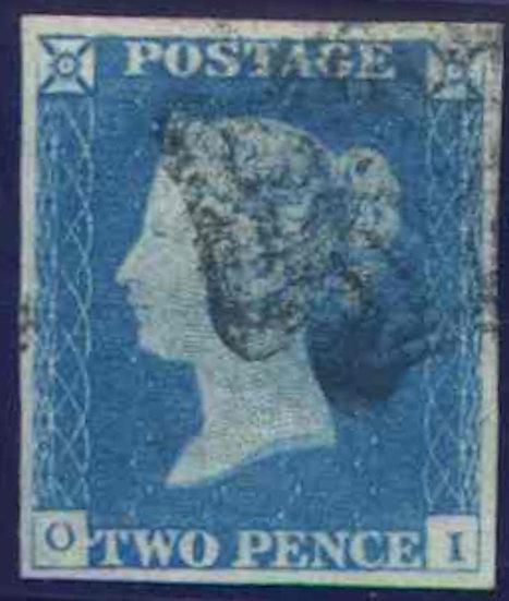 1840 2d Pale Blue (OI) Fine Used 4 Margin Clear Profile