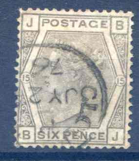 SG147 6d Grey Plate 15 Fine Used