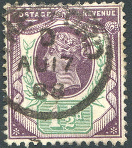 SG198 1 1/2d Dull Purple & Pale Green Fine Used Part CDS