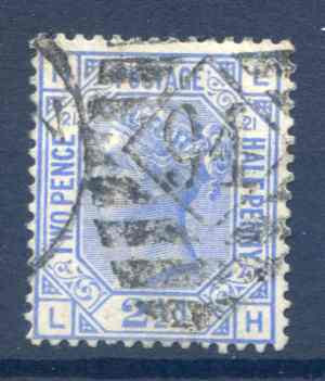 SG157 2 1/2d Blue Plate 21 Fine Used