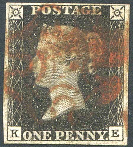 Penny Black (KE) Plate 8 Red MX 4 Margin Fine Used