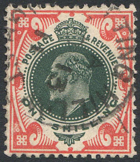 SG312 1/- Dark Green & Scarlet Fine Used