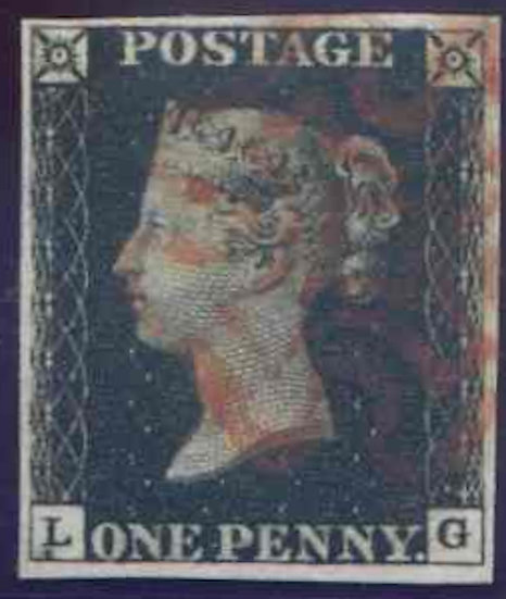 Penny Black (LG) Plate 4 Fine Used 4 Margin Red MX