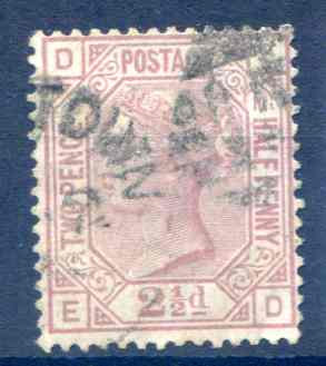 SG141 2 1/2d Rosy Mauve Plate 10 Fine Used