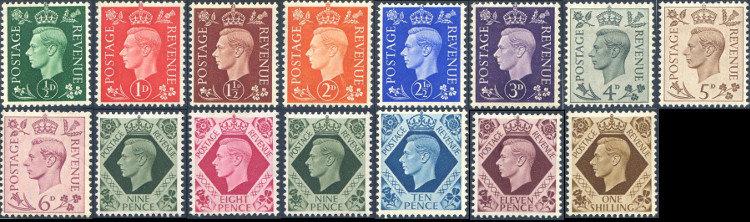 1937 Dark Colours Set SG462/475 Lightly Mounted Mint