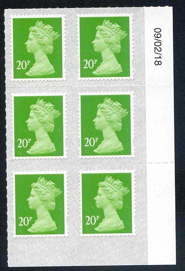 U2924 20p Bright Green M18L Unmounted Mint Marginal Block 6