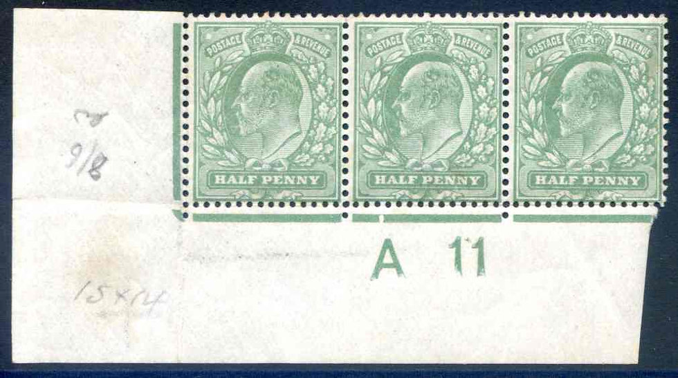 SG279 1/2d Dull Green A11 Control Strip 3 Unmounted Mint