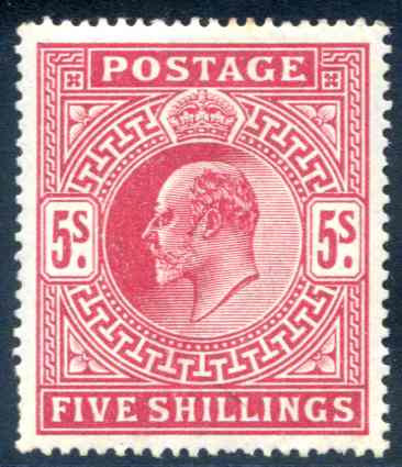 SG263 5/- Bright Carmine Lightly Mounted Mint