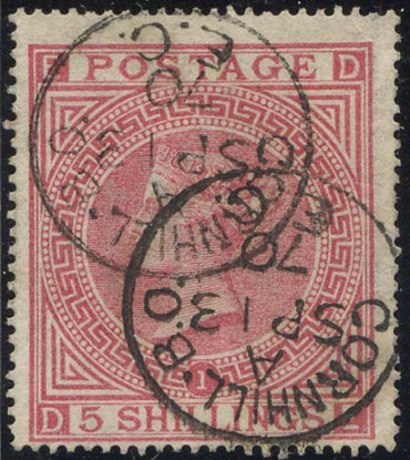 SG127 Plate 1 /- Pale Rose Fine Used Cornhill CDS Dated SP 13 70