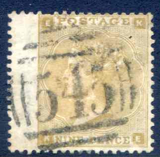 SG87 9d Straw Fine Used LH Wing Margin Newcastle 545 Cancel