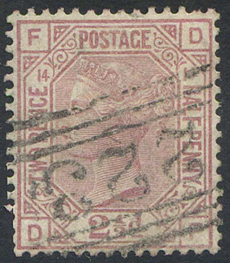SG141 2 1/2d Rosy Mauve Plate 14 (Pulled Perfs) Fine Used