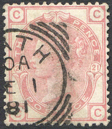 SG158 Plate 21 3d Rose Part Squared Circle Cancel Very Fine Used