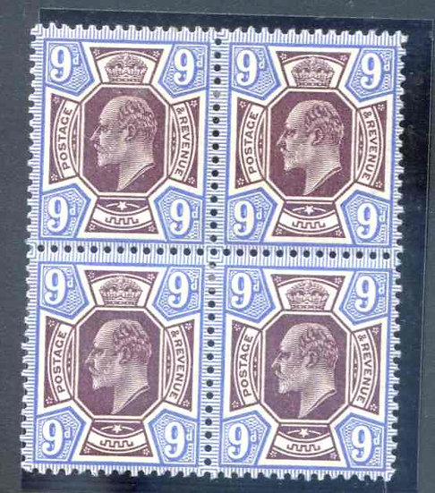 SG307a (d Deep Plum & Blue Lightly Mounted Mint Block 4