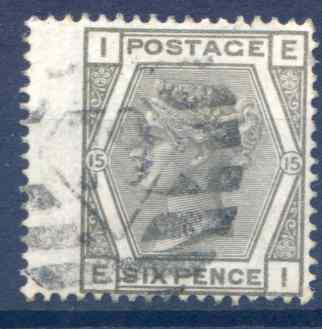 SG147 6d Grey Plate 15 LH Wing Margin Fine Used