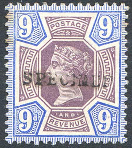 SG209s 9d Dull Purple & Blue Mounted Mint Specimen Overprint