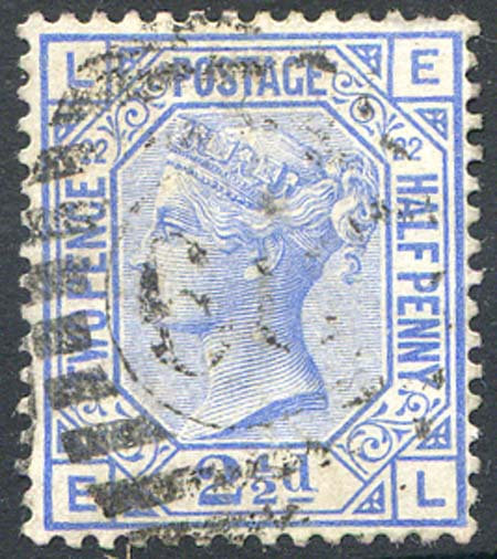 SG157 2 1/2d Blue Plate 22 Fine Used