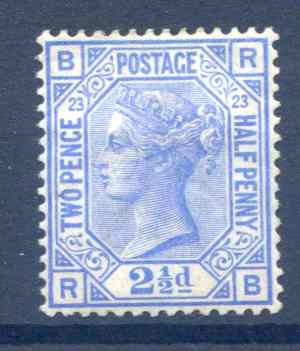 SG157 2 1/2d Blue Plate 23 Mounted Mint