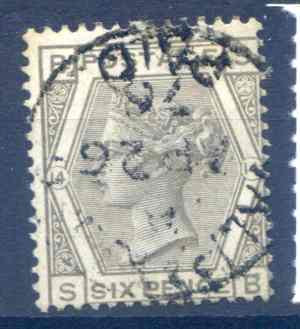 SG147 6d Grey Plate 14 Fine Used