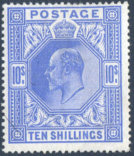 SG319 10/- Blue Very Lightly Mounted Mint