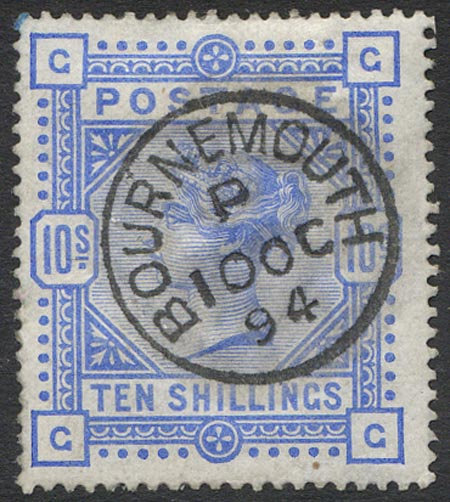 SG183 10/- Ultramarine Fine Used Central Bournemouth CDS Dated 10 oc 94