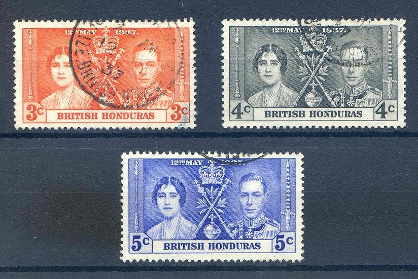 British Honduras 1937 Coronation set SG147/9 Fine Used