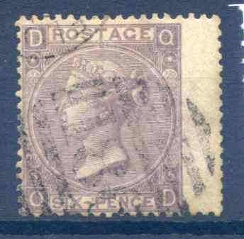 SG97 6d Lilac Plate 5 RH Wing Margin Fine Used
