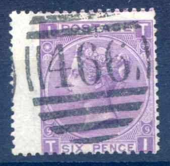 SG109 6d Mauve Plate 9 Used LH Wing Margin