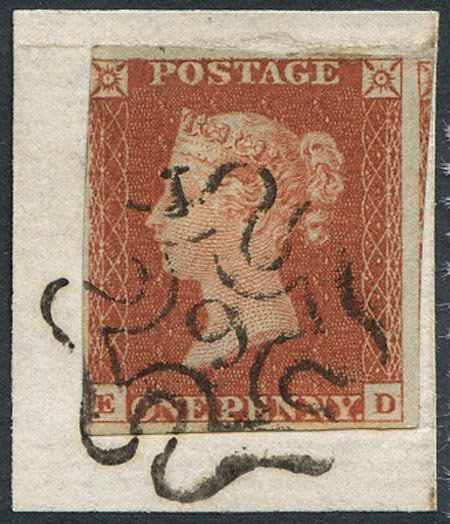 Penny Red Imperf (ED) Fine Used On Small Piece 9 in MX