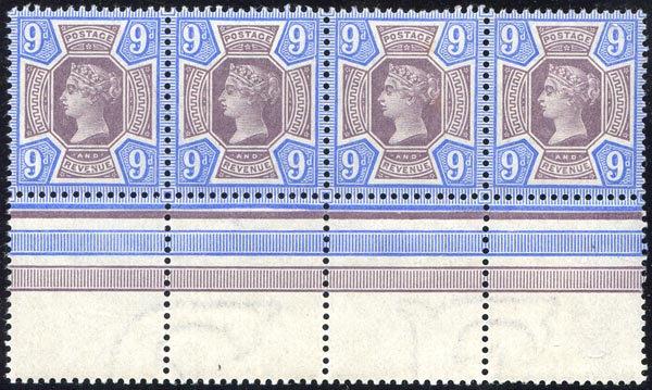 SG209 9d Purple & Blue Unmounted Mint Marginal Block 4