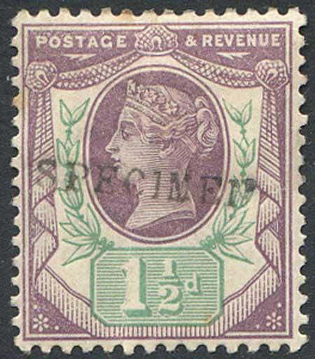SG198s 1 1/2d Dull Purple & Pale Green (Bend) Mounted Mint Specimen Overprint