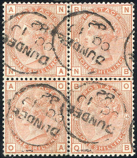 SG163 Plate 14 1/- Orange Brown Fine Used Block 4 Dundee CDS Dated OC 10 82
