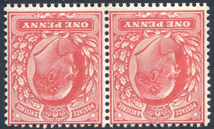 SG272wi 1d Rose Red Pair Unmounted Mint Watermark Inverted