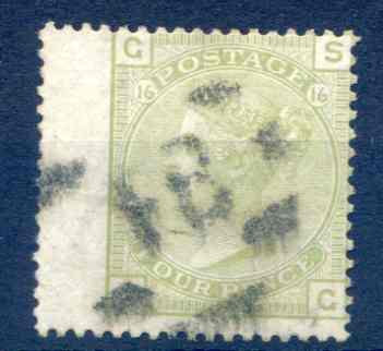 SG153 4d Sage Green Plate 16 Fine Used LH Wing Margin
