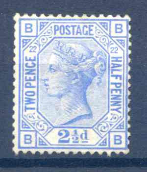 SG157 2 1/2d Blue Plate 22 Mounted Mint