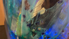 Detail  6 of resin wave with lapis and light.