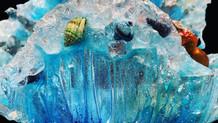 Detail 4: resin, shells, ink, quartz crystals and amethyst.