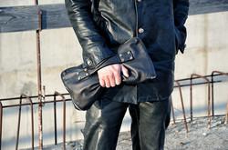 leather one piece clutch bag