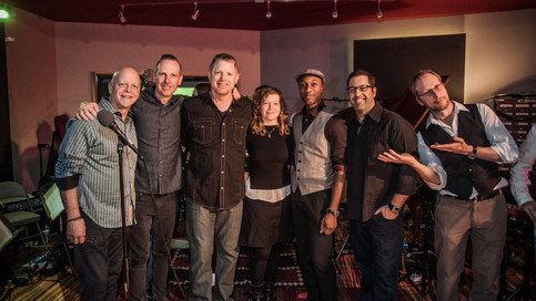Chris and Tim with Aloe Blacc, No Doubt's Tom Dumont, and Sideway's composer, Rolfe Kent