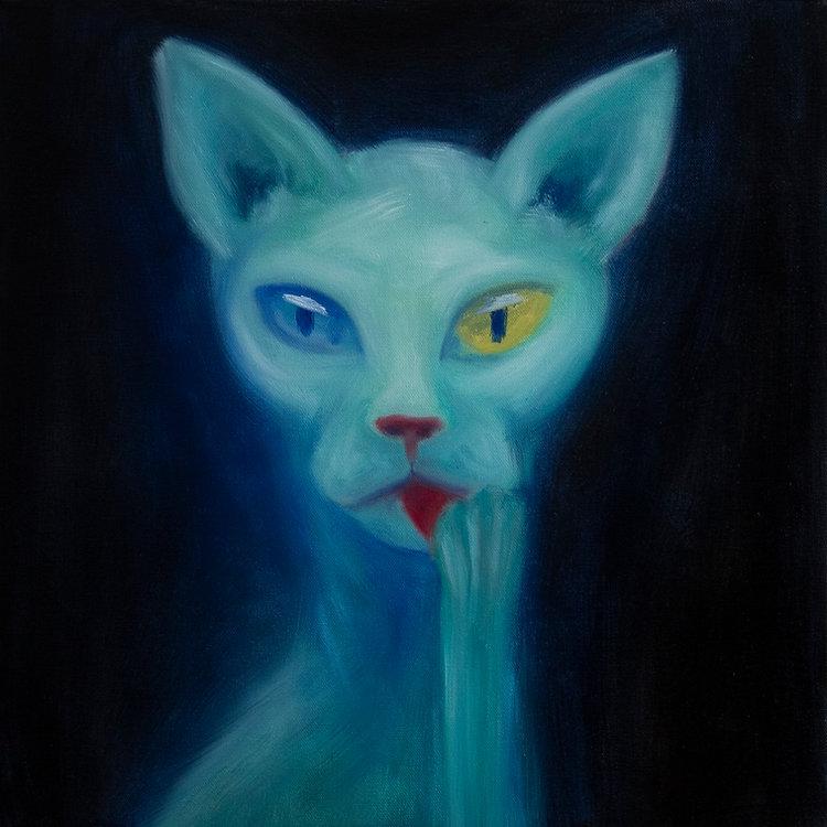 oil painting marlon messal aliekitty space cat sphynx