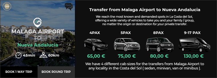 Transfer from Malaga Airport to Nueva Andalucia