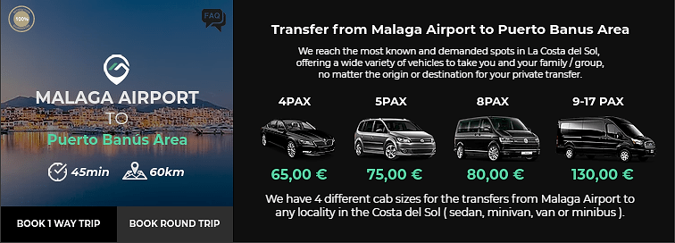 Transfer from Malaga Airport to Puerto Banus Area