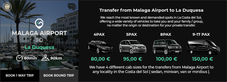 Transfer from Malaga Airport to La Duquesa