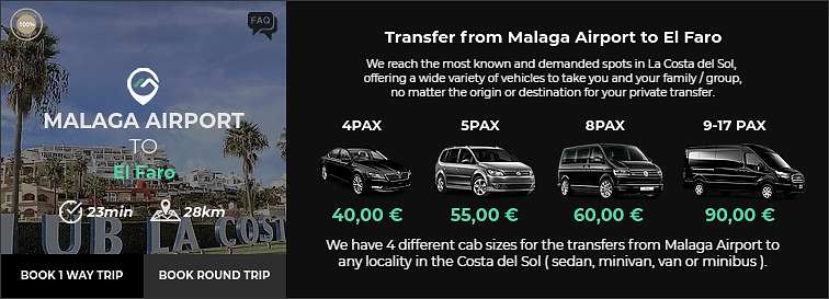 Transfer from Malaga Airport to El Faro
