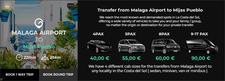 Transfer from Malaga Airport to Mijas Pueblo