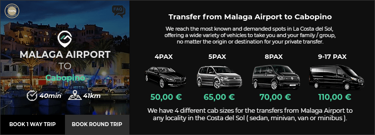 Transfer from Malaga Airport to Cabopino